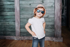 Fashion little girl, a child dressed Royalty Free Stock Image
