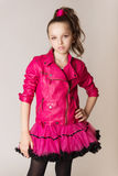 Fashion little girl in glam rock style Stock Photo