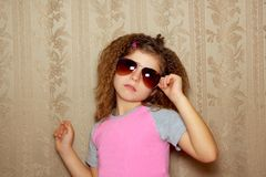 Fashion little girl retro sunglasses vintage Stock Photography