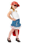 Fashion little girl on white Stock Photos
