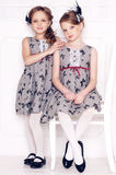Fashion little girls. Posing in gray dresses Royalty Free Stock Images