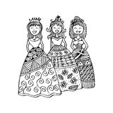 Fashion little girls. Zentangle style Royalty Free Stock Images