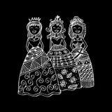 Fashion little girls. Zentangle style Stock Photo