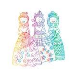 Fashion little girls. Zentangle style Royalty Free Stock Photography