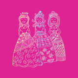 Fashion little girls. Zentangle style Royalty Free Stock Photos