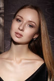 Fashion long hair. Beautiful blond girl. Healthy straight shiny hair style. Beauty woman model. Smooth hairstyle Stock Photos