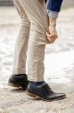 Fashion, long or short mans pants, shoes Royalty Free Stock Photos