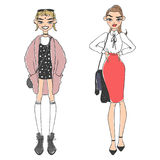 Fashion look girl beautiful girl woman female pretty young model style lady character vector illustration Royalty Free Stock Photo