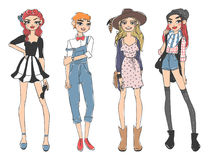 Fashion look girl beautiful girl woman female pretty young model style lady character vector illustration Royalty Free Stock Photos