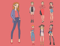 Fashion look girl beautiful girl woman female pretty young model style lady character vector illustration Stock Photography