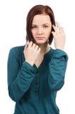 Fashion look of teenage girl showing her teeth Stock Image