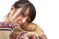 Fashion lovely girl hugging pet Royalty Free Stock Image