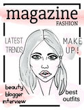 Fashion magazine cover with girl`s face Stock Photo