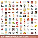 100 fashion magazine icons set, flat style. 100 fashion magazine icons set in flat style for any design vector illustration stock illustration