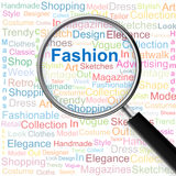 Fashion.Magnifying glass over seamless background with different association terms Royalty Free Stock Photo