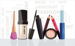 Fashion make-uo. Vector drawing of the fashion cosmetics presentation Stock Photo