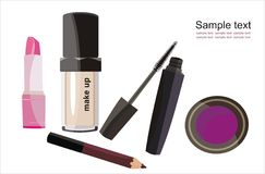 Fashion make-up. Vector drawing of the trendy cosmetics Royalty Free Stock Photo