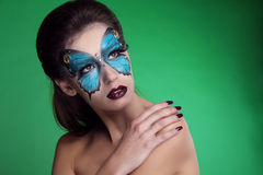 Fashion Make up. Butterfly makeup on face beautiful woman. Art P Royalty Free Stock Images