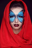 Fashion Make up. Butterfly makeup on face beautiful woman. Art P Stock Photos