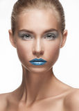 Fashion make-up with face art Royalty Free Stock Photos
