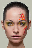 Fashion make-up with face art. Royalty Free Stock Photos