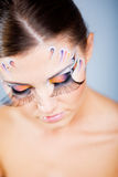 Fashion make-up with face art Royalty Free Stock Image