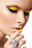Fashion make-up. Glamour model face, bright makeup