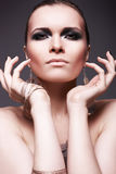 Fashion make-up. Luxury woman with smoky eyes stock photo