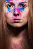 Fashion make up from powder on beautiful woman face Stock Photography