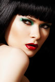 Fashion make-up, shiny hair. Beautiful woman model Stock Images