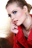 Fashion make-up woman in red Stock Images
