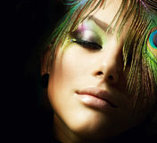 Fashion Makeup. Beautiful Fashion Woman Face.Perfect Makeup Stock Photography