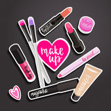 Fashion makeup items patch badges  Royalty Free Stock Images