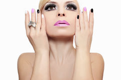 Fashion makeup and manicure. royalty free stock photo