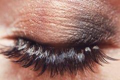 Fashion makeup smokey eyes and cosmetics .Shine earrings . Long Lashes closeup. Beautiful macro shot of female eye royalty free stock photography