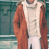 Fashion male look, jacket and sweater closeup Stock Photos