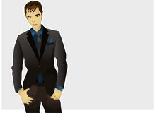 Fashion male model. Vector illustration of a man wearing a formal suit, with blue shirt, grey blaser and tie, fashion model posture Royalty Free Stock Photos