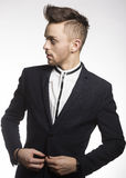 Fashion male model in black suit Royalty Free Stock Photo