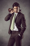 Fashion male model in business suit Royalty Free Stock Photos