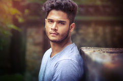 Fashion male Model Portrait outdoor Royalty Free Stock Photos