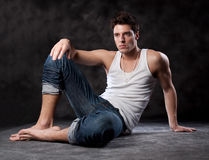Fashion male portrait looking away deep in though Royalty Free Stock Photography