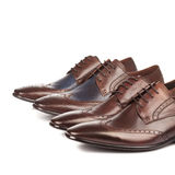 Fashion Male shoes brown color on white Royalty Free Stock Images