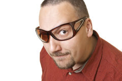 Fashion man with attitude and  broken glasses Royalty Free Stock Photo