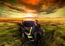 Fashion man and car Royalty Free Stock Images