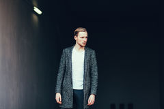Fashion man in coat Royalty Free Stock Photography