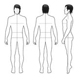 Fashion man figure. Fashion man full length outlined template figure silhouette with marked bodys sizes lines front, side & back view Royalty Free Stock Photos