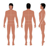 Fashion man figure. Fashion man full length template figure silhouette with marked body Stock Photos
