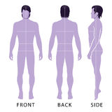 Fashion man figure. Fashion man full length template figure silhouette with marked body Stock Image