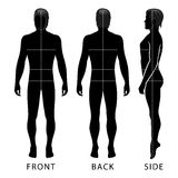 Fashion man figure. Fashion man full length template figure silhouette with marked body's sizes lines (front, side & back view Stock Image