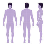 Fashion man figure. Fashion man full length template figure silhouette with marked body's sizes lines (front, side & back view Royalty Free Stock Photos